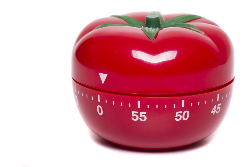 Time management with a tomato kitchen timer